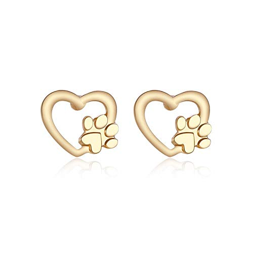 12 Pairs/Lot Cat Dog Paw Earrings for Women Jewelry Gold Silver Color Hollow Heart Stud Earring Love Charm Animal Claws Print - Silver Polished Paw Charm