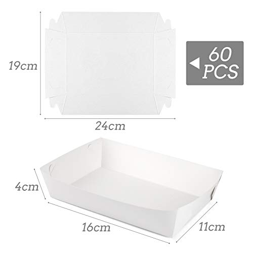 HAKACC Kraft Paper Food Tray, 60 PCS White Paper Food Serving Trays Disposable Food Trays for Lunch Fast Food Snack