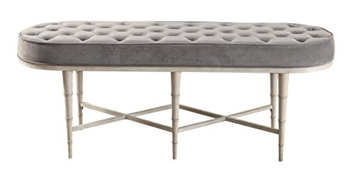 Homelegance Qirin Padded-Top Button-Tufted Accent Metal Ottoman Bench with Wooden Turn Legs Velvet, Grey