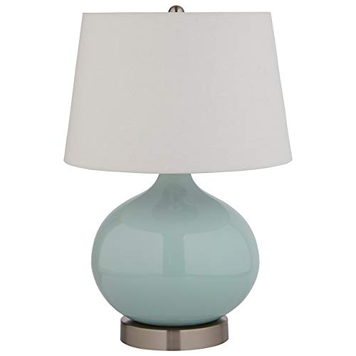 (Stone & Beam Round Ceramic Table Lamp With Light Bulb and White Shade - 11 x 11 x 20 Inches, Cyan Blue)