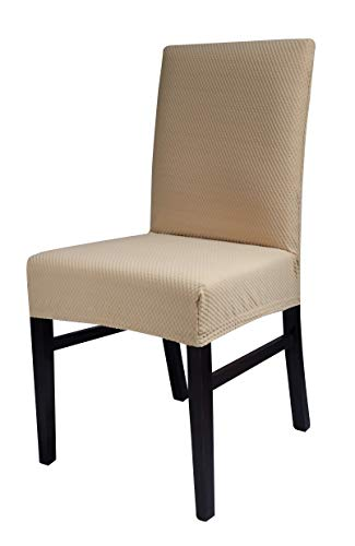 Chiara Rose Stretch Spandex Dining Chair Slipcover Kitchen Short Chair Furniture Cover 2 Beige (Chair Chiara)