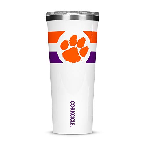(Corkcicle  Tumbler - 24oz NCAA Triple Insulated Stainless Steel Travel Mug, Clemson University Tigers, Gym Stripe )