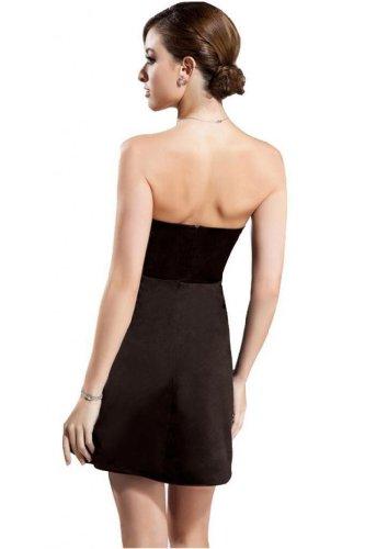 Cocktail Satin Short Brown Women's Dress Sleeveless Dearta Neck A Scalloped Mini Line 6zwx48pq