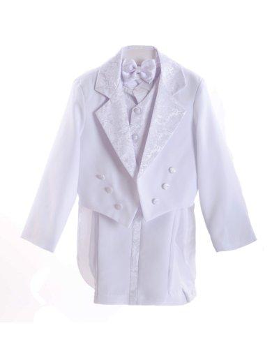 White Baby Boys Amoeba Pattern Tuxedo Suit Set & Bowtie