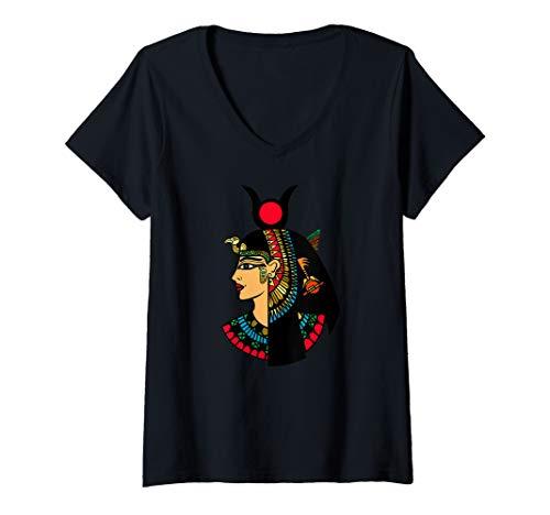 Womens Hathor Egyptian Goddess of the sky V-Neck - Egyptian Hathor Goddess