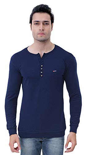 GRAND STITCH Solid Men's Henley Dark Blue T Shirt