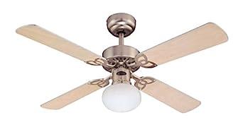 Pale en Acero Chiaro//Argento 60 W Westinghouse Ventilatore a Soffitto Vegas E27 Finitura in Alluminio