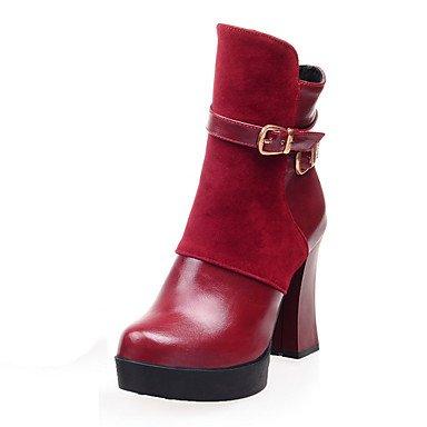 ZJJ Scarpe da donna moda stivali invernali / turno Toe stivali partito & sera / vestito grosso tacco fibbia / cerniera nero / rosso , us5.5 / eu36 / uk3.5 / cn35