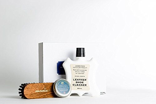COLOURLOCK Shoe Cleaning, Care & Polishing Kit with 0.5fl oz Elephant Leather Preserver for pigmented leather shoes