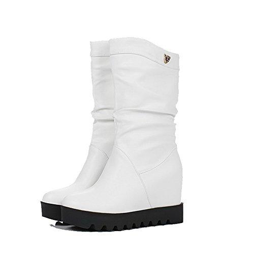 AgooLar Damen Hoher Absatz PU Rein Ziehen auf Rund Zehe Stiefel, Weiß, 43