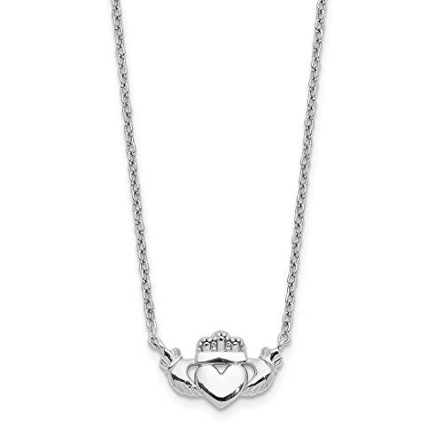 14k White Gold Irish Claddagh Celtic Knot Chain Necklace Pendant Charm Fancy Celtic/claddaugh Fine Jewelry For Women Gift Set (Gold White Bracelet 14k Gram)