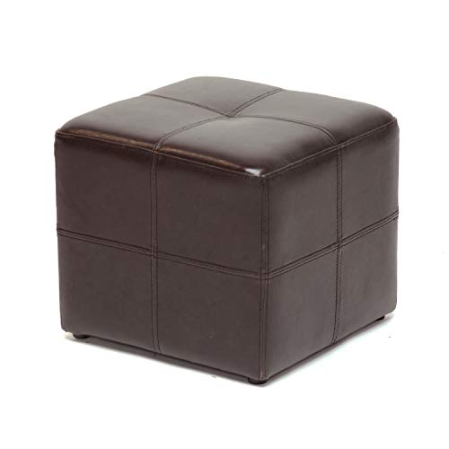 Baxton Studio Nox Brown Leather Ottoman , Dark Brown , SMALL -