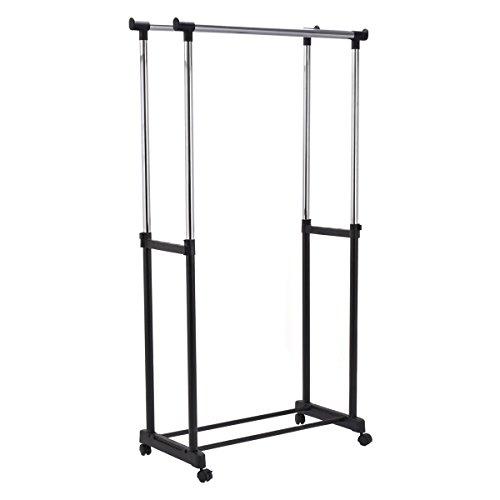 Double Heavy DutyRail Adjustable Portable Clothes Hanger Rolling Garment Rack! - Va Eyeglass Richmond Stores