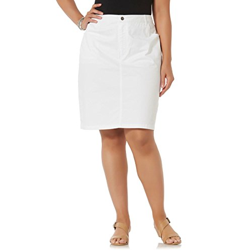 Jack David Sexy Womens Plus Size Stretch Denim Jeans Casual Twill Cotton Skirt Modern Series (3X, White Twill Cotton ()