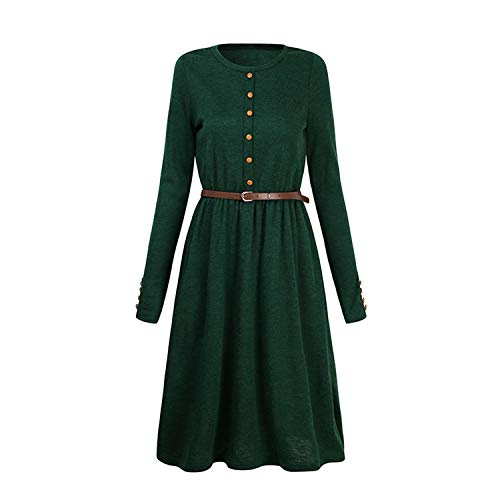 Women Long Sleeve Knitted Button Dress Autumn Winter Dress Ladies O Neck Casual Party Dress with Belt,Green,XXL