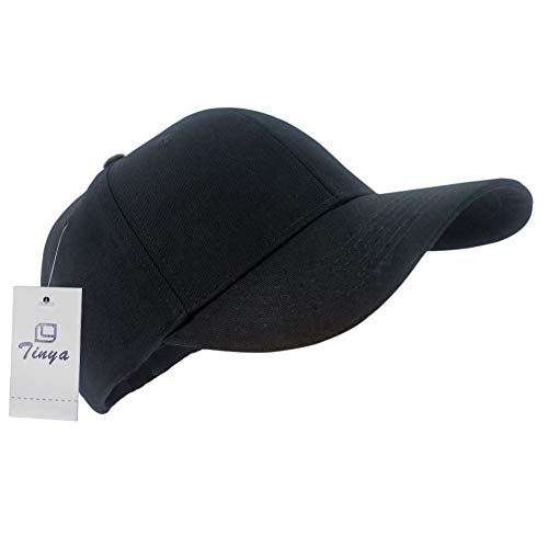 TINYA Baseball Cap Men Women: 100% Cotton Thicker Material Brim Longer No Irritation to Skin Plain Black Sports Cool Adjustable Unstructured Solid Large Youth Golf Ball Hat ()
