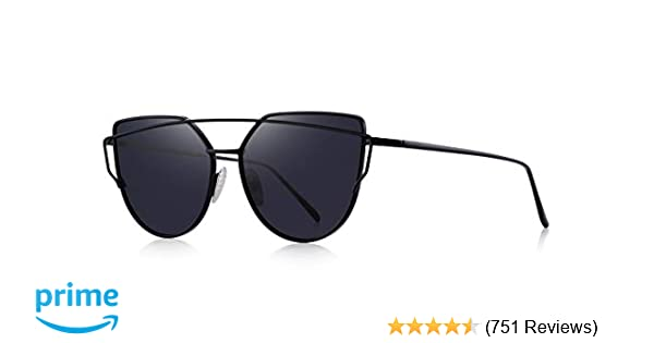 26f389df0813 Amazon.com: MERRY'S Fashion Metal Frame Flat Mirrored Lens Sunglasses Cat  Eye For Women UV400 S7882 (Black, 56): Clothing