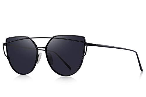 MERRY'S Fashion Metal Frame Flat Mirrored Lens Sunglasses Cat Eye For Women UV400 S7882 (Black, ()