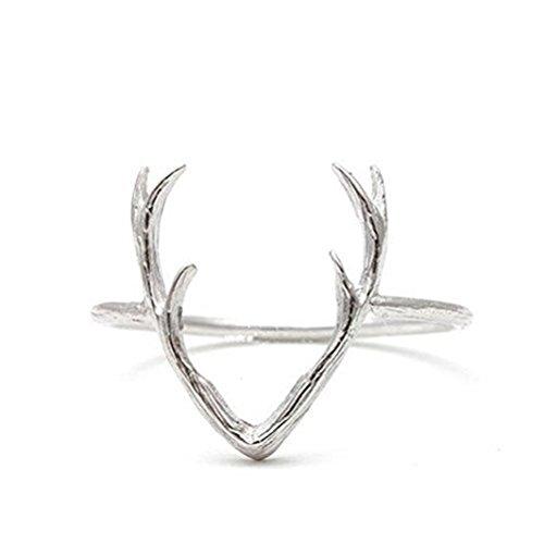 Antler Rings, Stacking Rings, Animal Ring, Deer Ring, Stag Ring (Silver) (Deer Ring For Women)