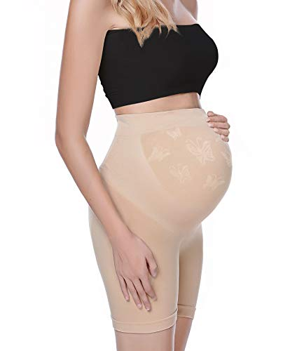 Maternity Dress Shapewear Shorts Womens Soft and Seamless Elastic High Waist Mid Thigh Pregnancy Shaper Nude L