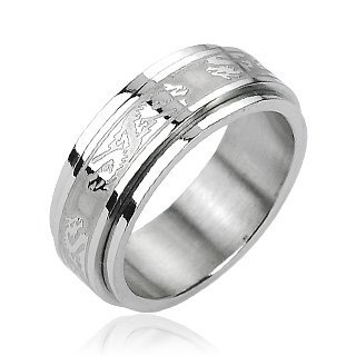 (316L Stainless Steel Double Dragon Center Spinner Ring Band)