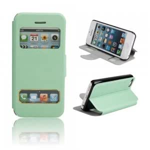Flip Open Leather Protective PC Case w/ Stand holder for iPhone 5C Green