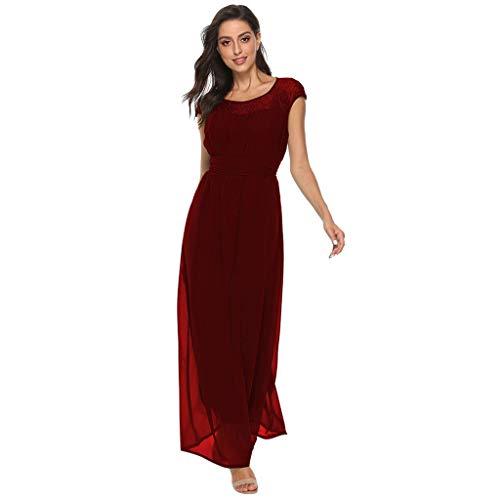 TANLANG Women Lace Appliques Breathable Elegant Party Evening Dress Chiffon Formal Long Maxi DressEvening Dress Long Skirt Wine