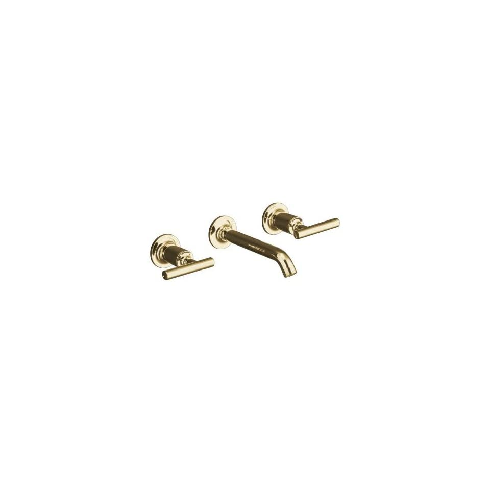 Kohler Purist Polished Gold Wall Mount Bathroom Sink Faucet, 8 1/4 Spout+Cylinder Lever Handles