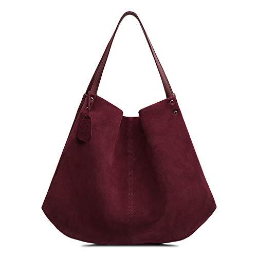 (Women Real Split Suede Leather Hobos Bag Leisure Large Shoulder Bags,Burgundy)