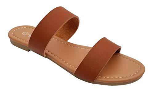 Elegant Women's Fashion 2 Strap Tan Flat Sandals Tan 8, M US