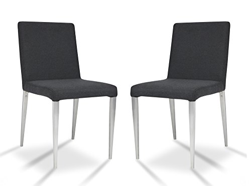 Shermag 2 Piece Parsons Chairs, Chrome/charcoal by Shermag