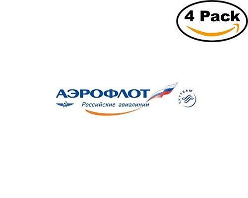 Aeroflot Airlines (Airlines Aeroflot Logo 4 Stickers 4X4 Inches Car Bumper Window Sticker Decal)