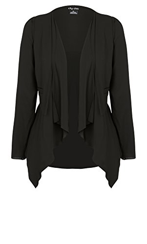 Designer Plus Size JKT VEST OVERLAY - Black - 22 / XL | City Chic