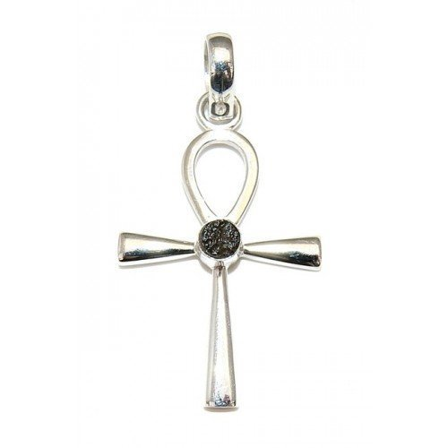 Moldavite Ankh Egyptian Key of Life Sterling Silver Pendant by Gifts and Guidance