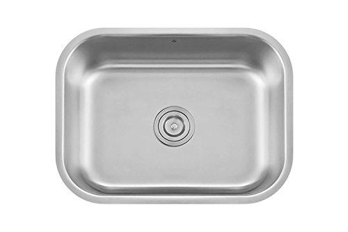 Z Sinks Milan23 Series Stainless Steel Kitchen Sink Milan, Undermount Single Bowl with Strainer, 23.5