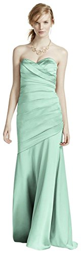 Long Strapless Stretch Satin Bridesmaid Dress Style F15586 – 18 Plus, Mint