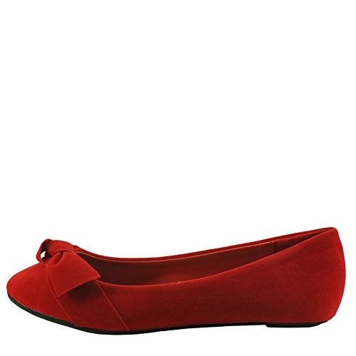 Bambù Chantel 46s Womens Bow In Front Casual Femminile Flats Rosso
