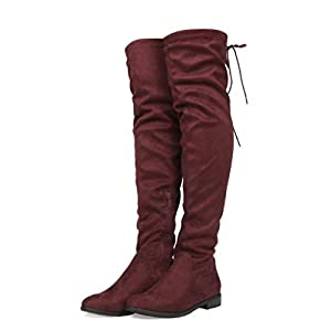 DREAM PAIRS Women's Over The Knee High Low Block Heel Riding Boots