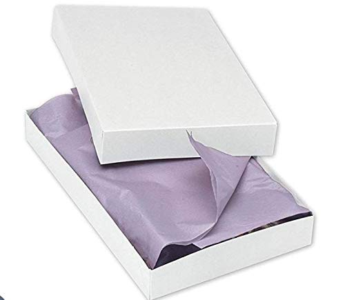 (2-Piece Apparel Gift Boxes With Lids and Silver Stretch Loops with Pre-tied Bows, 11 1⁄2 x 8 1⁄2 x 1 5⁄8