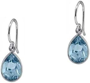 2.50 CTW Pear-Shaped Blue Topaz Drop Earrings in Sterling Silver