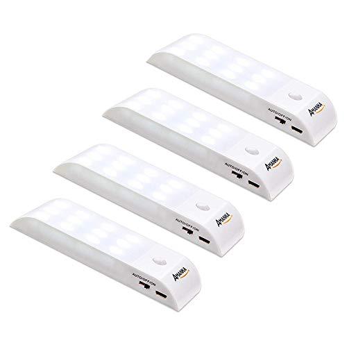 AMANKA Lámpara Nocturna Luces Led con Sensor de Movimiento 12LED Luz Recargable USB con 3 Modos Cinta Adhesiva Magnética…