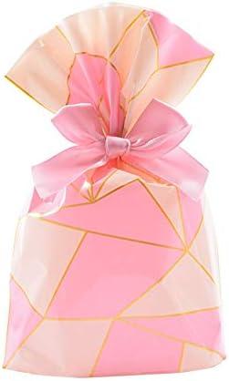 50パックのギフトバッグ - ベーキングパッケージ点心クッキーバッグ、パンケーキこんにちはキャンディ食品バッグ v (Color : Pink gold)