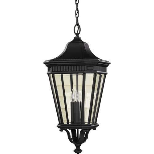 Feiss Cotswold Lane Black 3-Light Outdoor Pendant Light OL5412BK