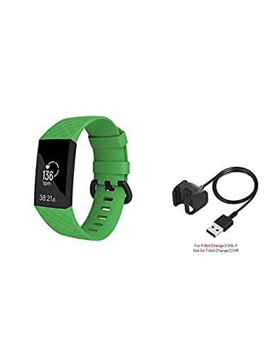 Replacement Band and Charger for Fitbit Charge Small Size Zodaca Soft Silicone Rubber Adjustable Wristband Strap and USB Charging Cable Bundle Compatible with Fitbit Charge Charge Green Estimated Price -