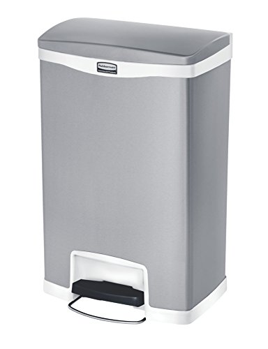 Rubbermaid Commercial Slim Jim Stainless Steel Front Step-On Wastebasket, 13-gallon, White (1901997)