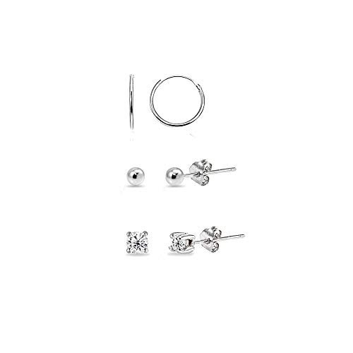 3 Pairs Sterling Silver 10mm Endless Hoops, 2mm Round CZ & Ball Stud Unisex Cartilage Earrings Set -