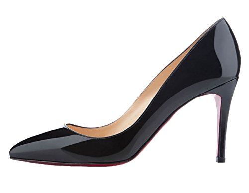 Hooh Chaussures De Mariage À Bout Pointu Femmes Stiletto Semelle Rouge Noir