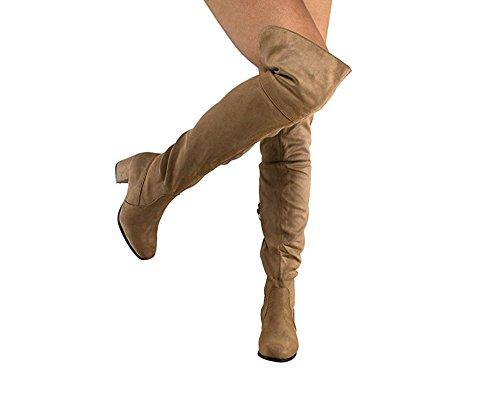 MVE Schuhe Damenmode Bequeme Vegane Wildleder Block Heel Slip On Oberschenkel Hohe Overknee Stiefel Taupe Su