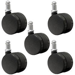 "Set of 5 Office Chair Casters 2"" (50mm) Nylon Twin Wheel Replacement Caster"