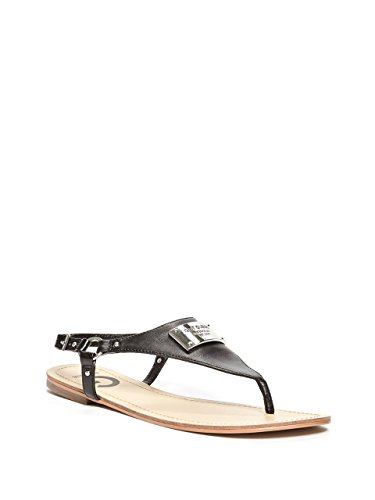 Leather Logo Plaque - G by GUESS Karmin Logo Faux-Leather T-Strap Sandals